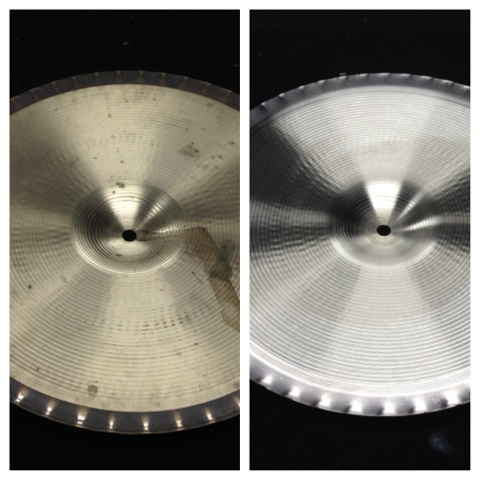 before and after photo of professional cymbal cleaning at LADS
